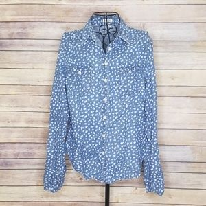 Per Se blue floral L button down cotton shirt